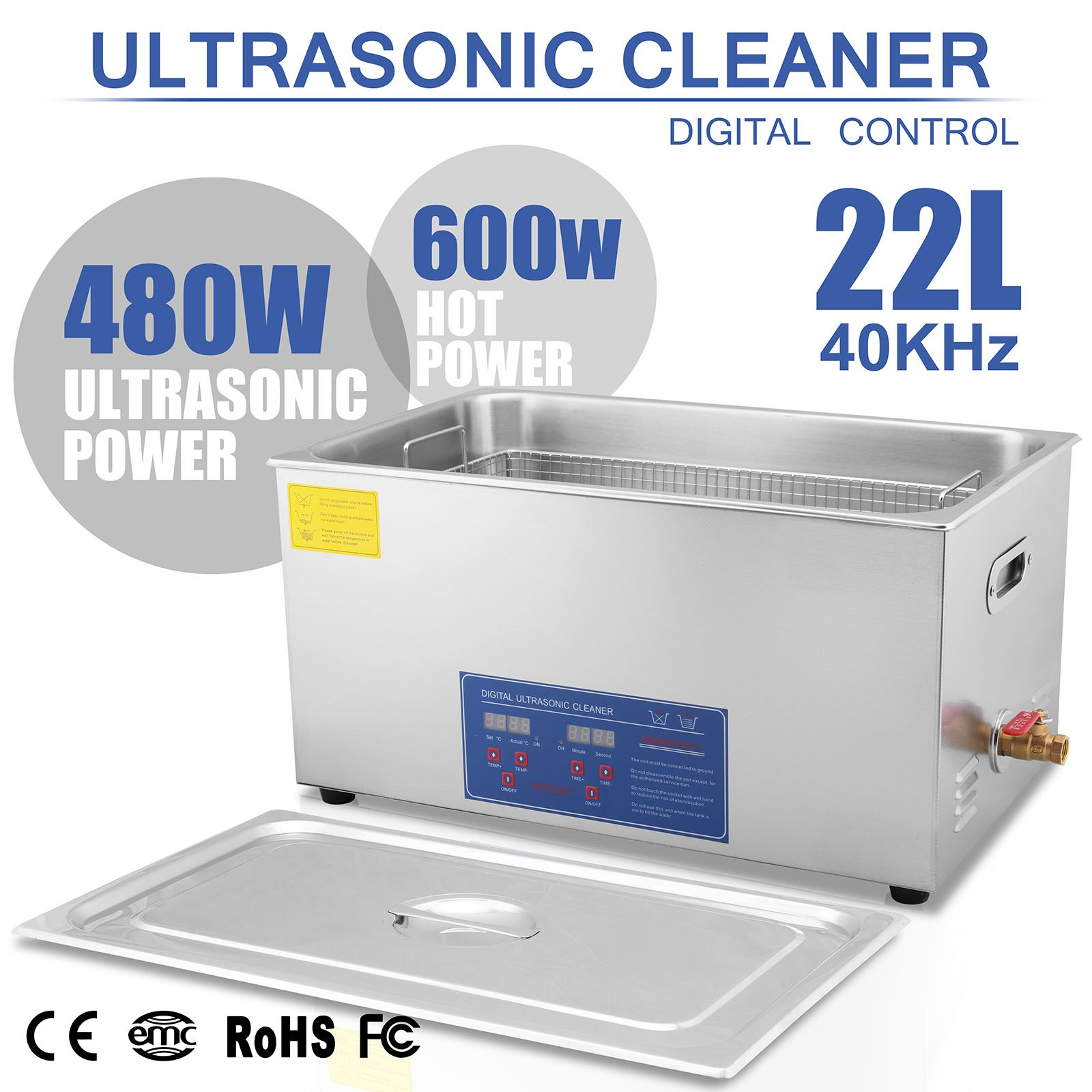 HappyBuy Ultrasonic Cleaner 22L Large Commercial Ultrasonic Cleaner Stainless Steel Ultrasonic Cleaner With Heater And Digital Control Ultrasonic Cleaner Solution Heated With Jewelry