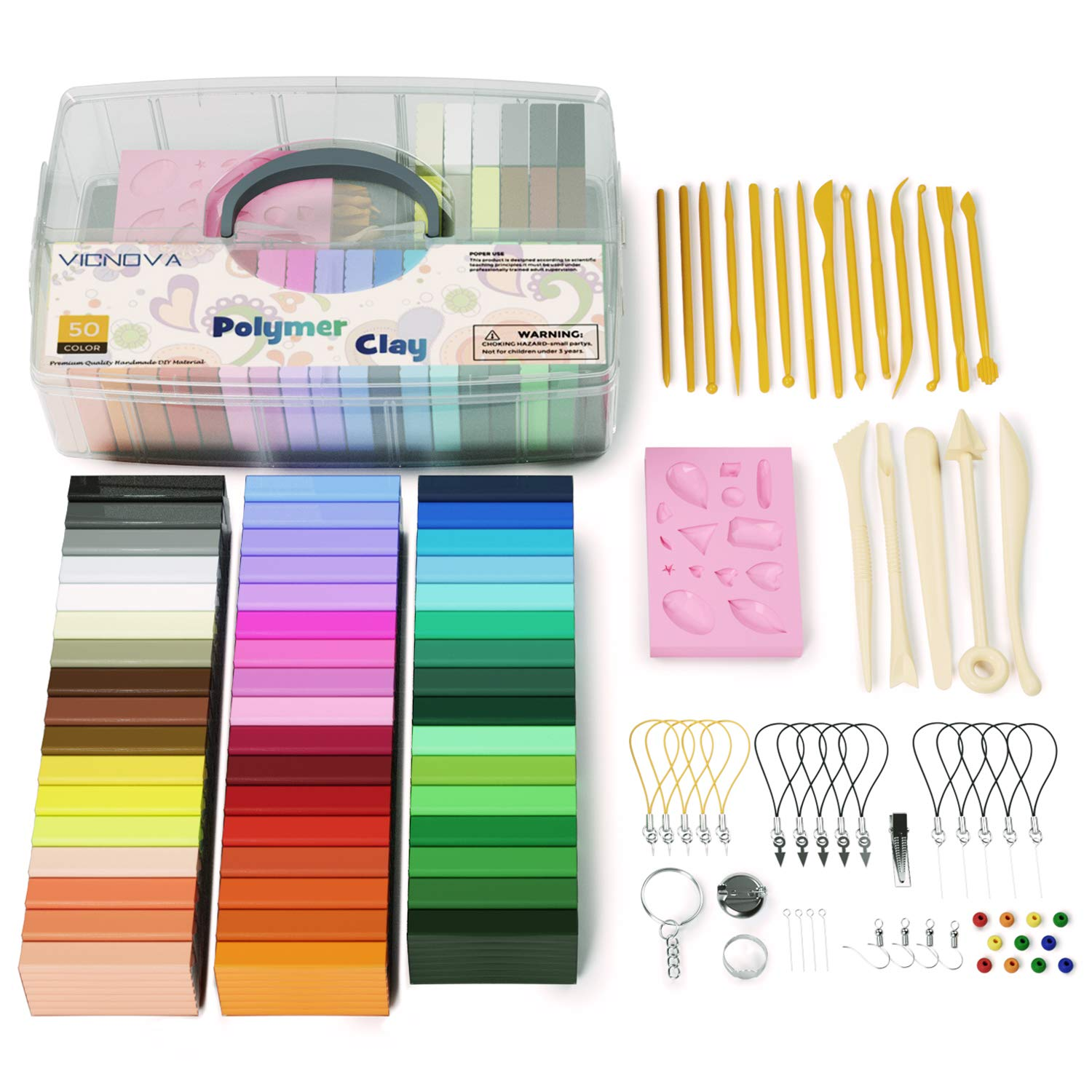 50 Colors Polymer Clay, Modeling Clay with 29 Clay Tools and Accessories, Starter Kit Clay for Kids, Non-Stick, Non-Toxic, Ideal DIY Gift for Kids by VICNOVA