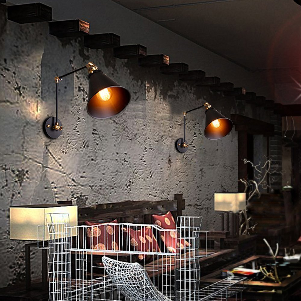 Estilo B Asvert L/ámpara de pared Vintage Industrial de Metal Hierro L/ámpara Apliques de Pared Ajustable Brazo Telesc/ópico Polo LED,Color Negro,Casquillo E27
