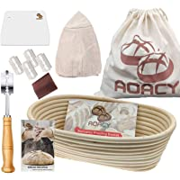 10 Inch Oval Banneton proofing Basket, AOACY Sourdough Bread Basket with Storage Bag, Bread Lame, Dough Scraper, Cloth…