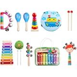 Kids Musical Instruments Set 8 Types 14pcs Wooden Percussion Instruments Toy for Toddlers Educational Musical Games Tambourine Present with Bag