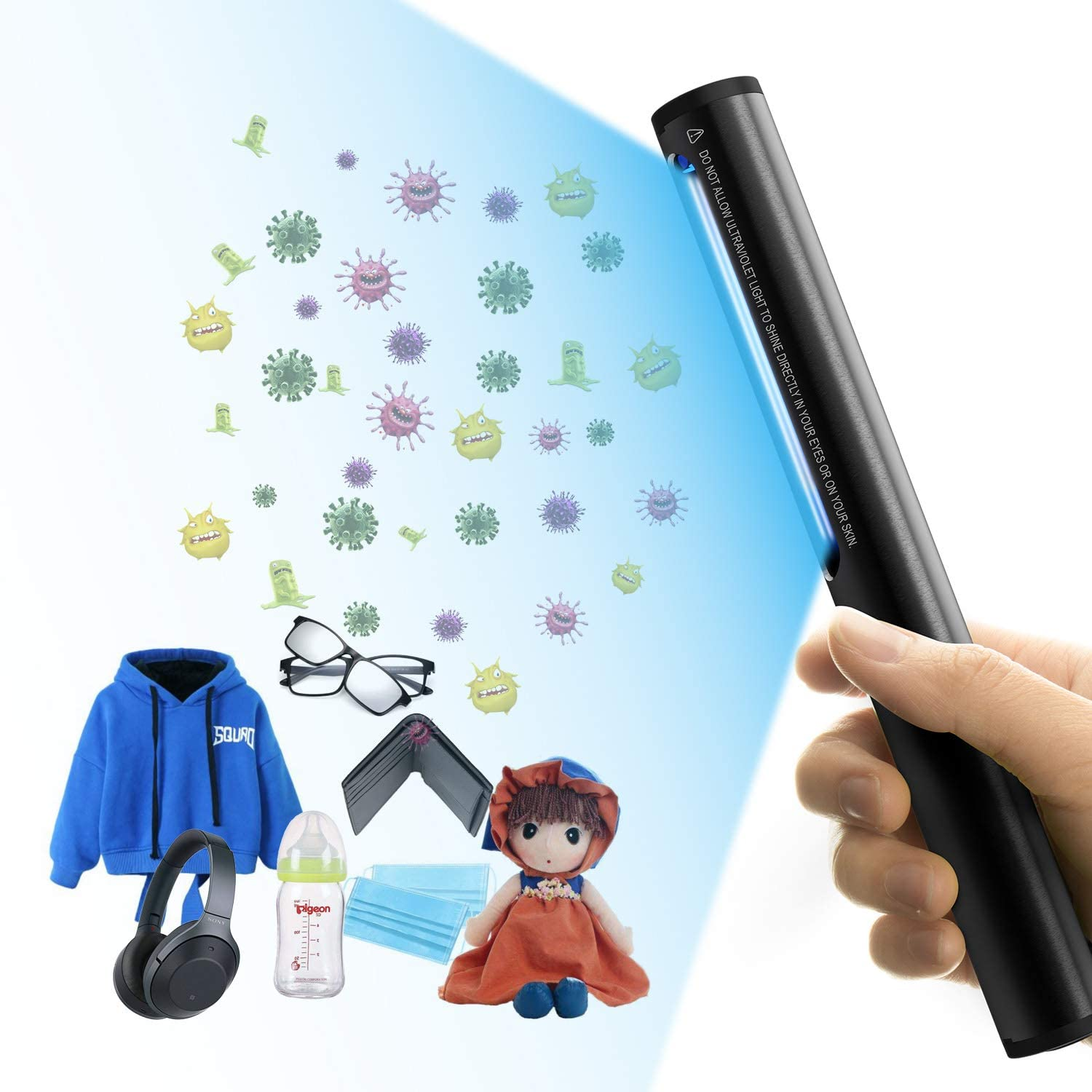 SWIFF Portable Ultraviolet Disinfection Lamp Hand-held Germicidal Wand Sterilization Lamp Disinfectant Without Chemical Substances Suitable for Underwear,Footwear Bedroom,Toilet,Car,Pet,etc