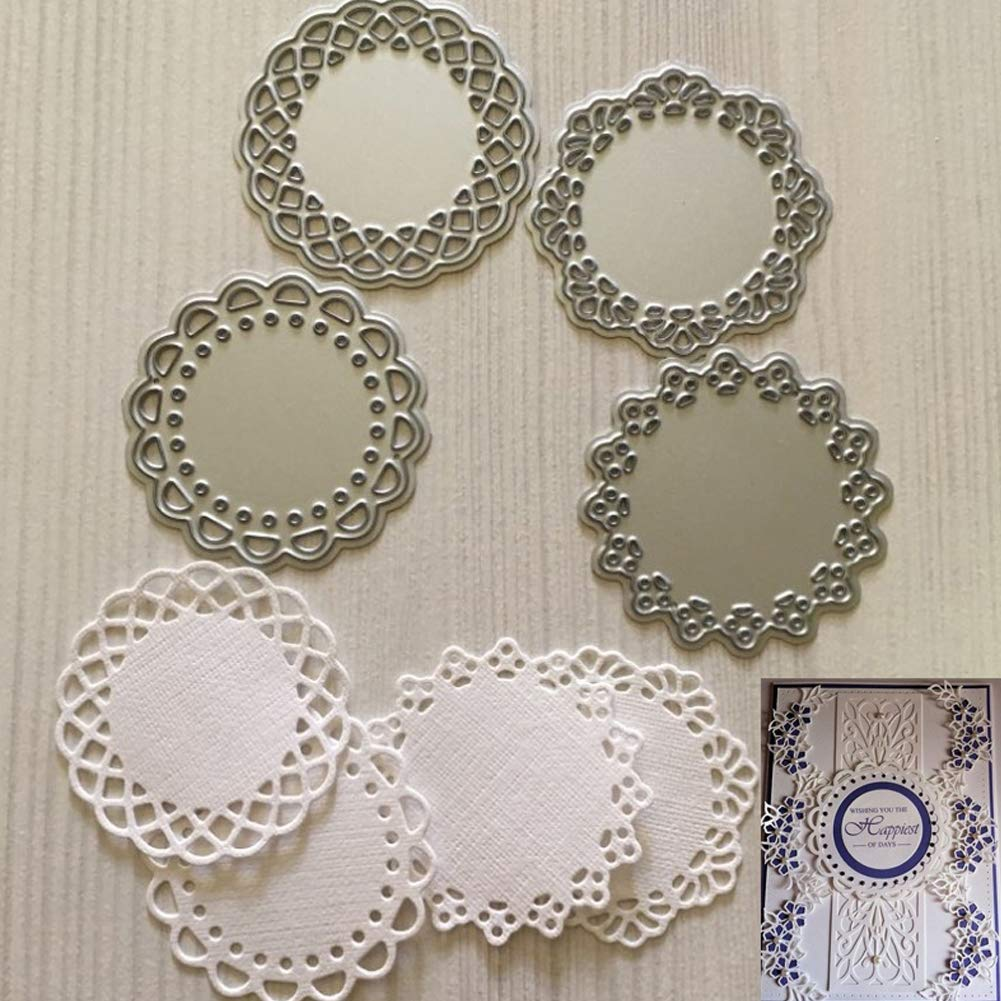 SELUXU 4Pcs Lace Edge Circle Frame Metal Cutting Die Stencils DIY Scrapbooking Album Decorative Embossing Hand-on Paper Cards