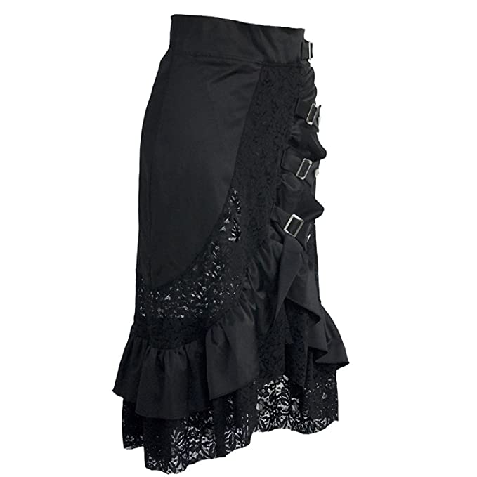 coswe Falda para mujer estilo vintage, steampunk, gótico, victoriano, de algodón, con encaje negro negro negro: Amazon.es: Ropa y accesorios