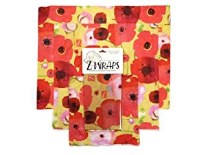 Z Wraps 3-Pack, Reusable Food Wrap and Food Saver, Alternative to Plastic Wrap, Sustainable, Eco Friendly Beeswax Food Wrap - Small, Medium, Large (Painted Poppy)