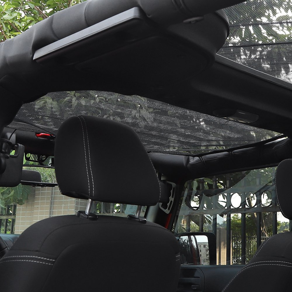 black RT-TCZ Durable Mesh Shade Top Cover Provides UV Sun Protection for 2007-2017 Jeep Wrangler JK or JKU 2 Door