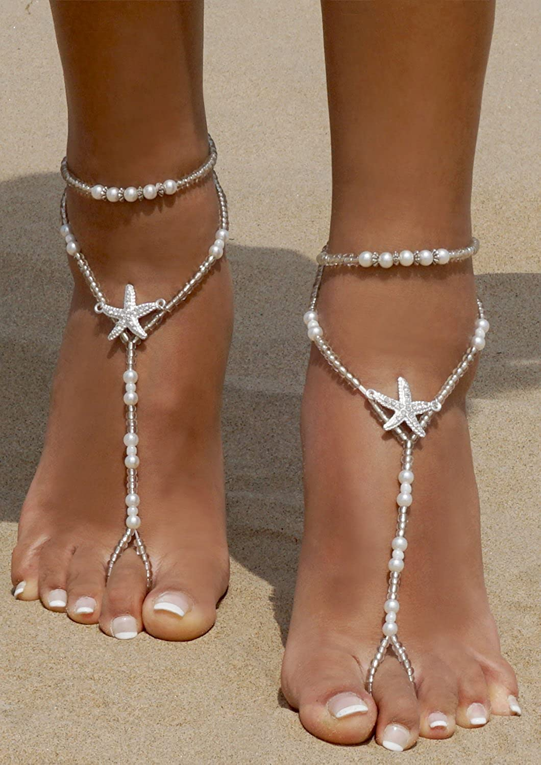 9df87ebc60b4 Anklets Bellady 2Pcs Pearl Ankle Chain Barefoot Sandals with Starfish Beach  Wedding Foot Jewelry White ZXG18030134