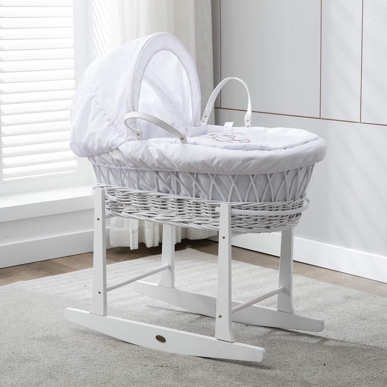 Babykorb, weide, in weiss, Komplettset mit Matratze, Bezug und Schaukelgestell MCC