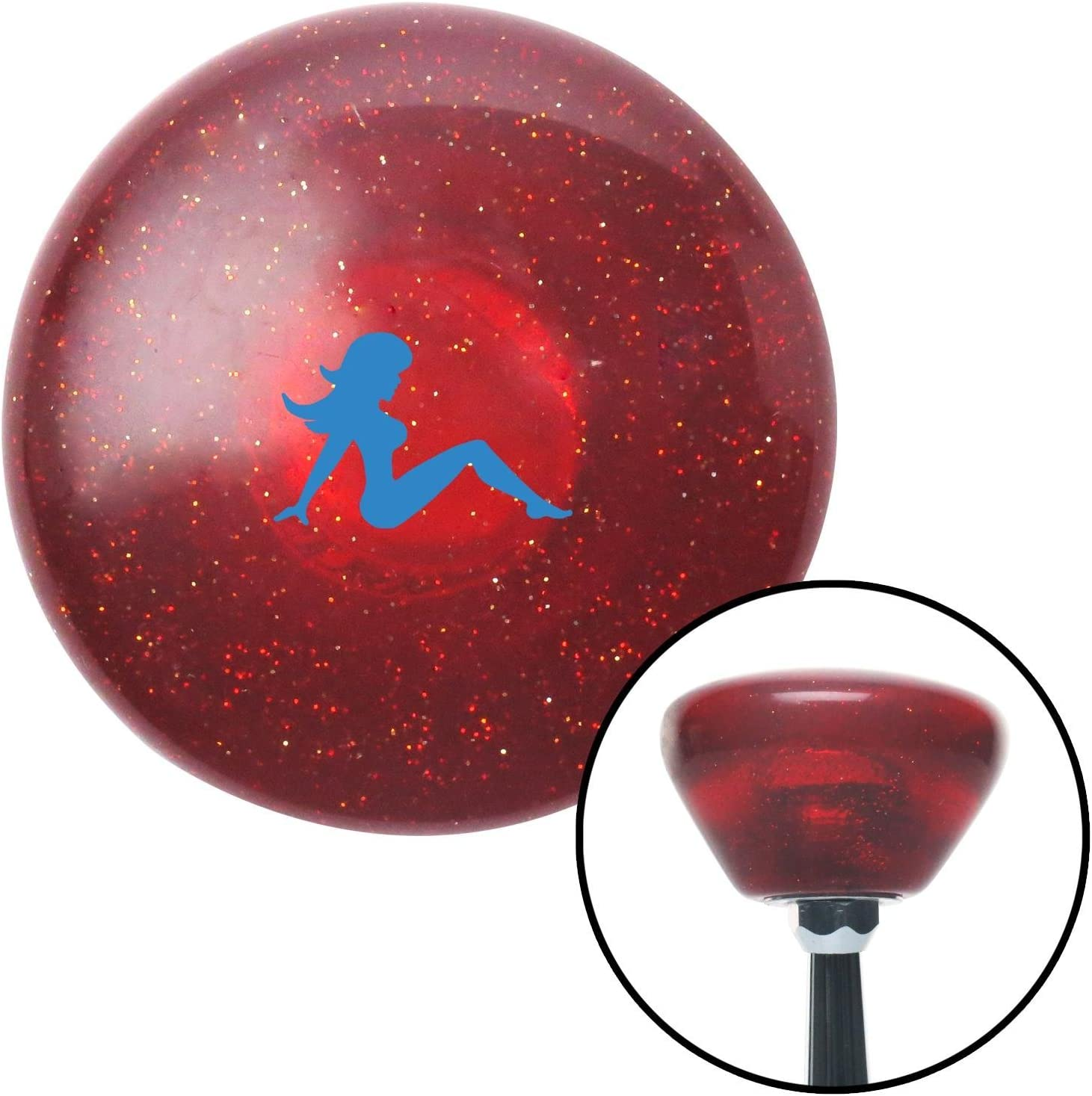 Blue Mudflap Girl Clear Metal Flake with M16 x 1.5 Insert American Shifter 277798 Shift Knob