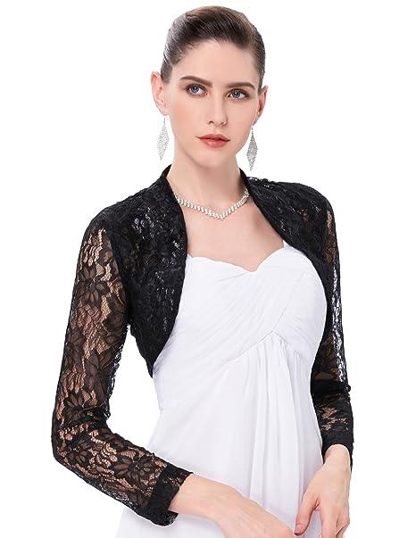 Mujer Torera Para Fiesta Boda Chaqueta Casual Cardigan Abierta Cómodo de Lace Floral S