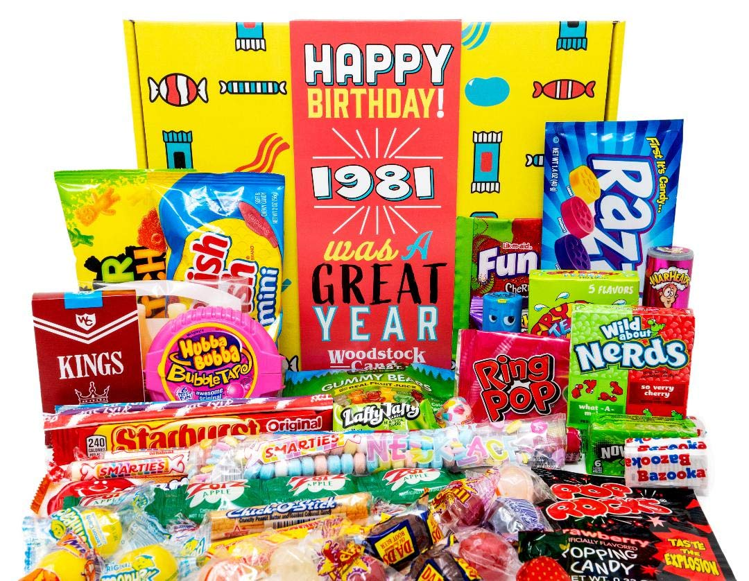 Woodstock Candy ~ 1981 40th Birthday Gift Box of Nostalgic Retro Candy from Childhood for 40 Year Old Man or Woman Born 1981