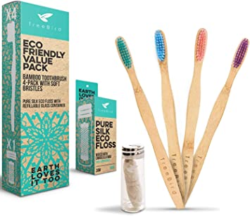 Bamboo Toothbrush 4-pack & Natural Silk Dental Floss With ...