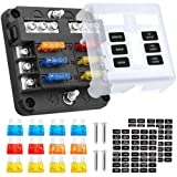 Electop 6 Way Blade Fuse Block Fuse Box Holder, 6 Circuit Car Ato/Atc Fuse Block with LED Indicator Damp-Proof Protection Cov