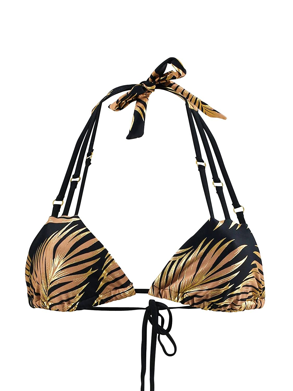 Bikini-Top Triangel Beach Bunny Bunny Basic Gold Foil Palm Bunt