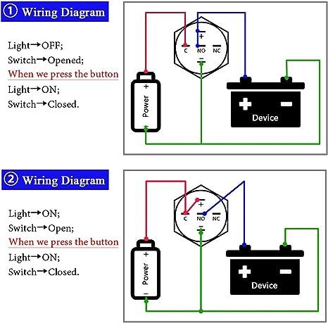 TOOGOO Heavy Duty Engine Start Push Button Heavy-Duty Momentary Start Switch 12V Dc Weatherproof Push Button Start Switch 50 Amps
