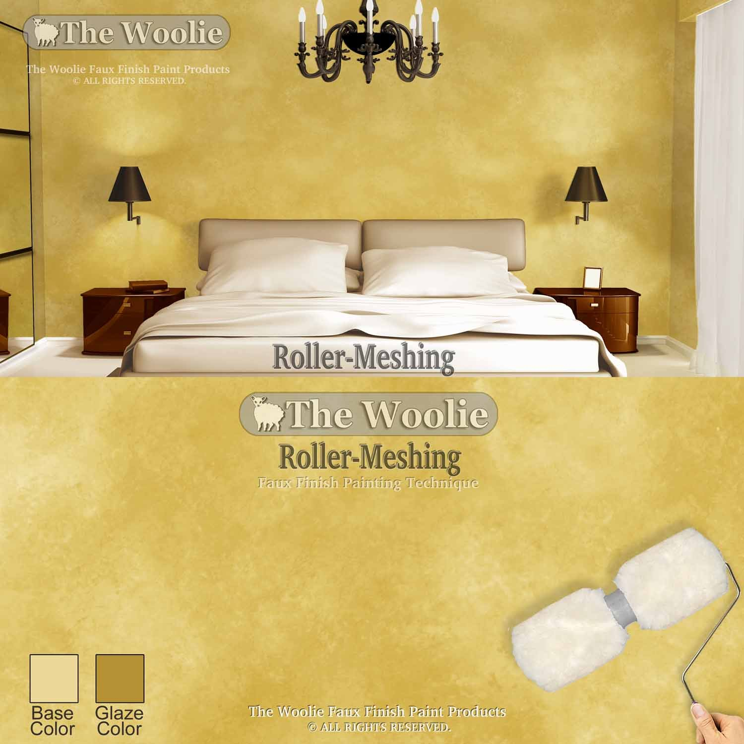 Faux Painting Double Roller Tray The Woolie Original Dual 2-Color Split Roller Value 2-Pack Tray