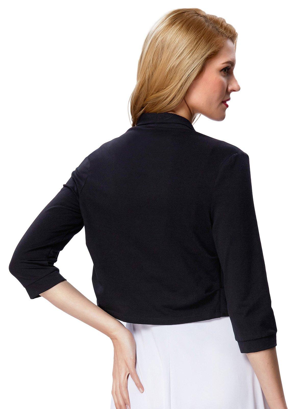 Spring Black Cropped Wedding Bolero Jacket Plain(XL, Black 512-1) by JS Fashion Vintage Dress (Image #2)