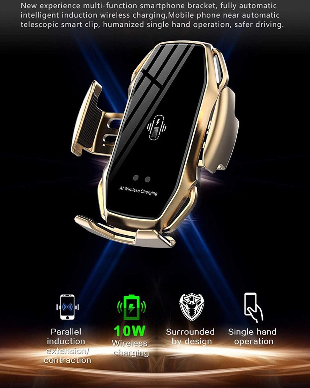 compatible on phone11pro//xs max carga r/ápida inal/ámbrica Huawei:Mate 20pro,Xiaomi: MIX3,Galaxy S10//S9,y otros tel/éfonos m/óviles con carga inal/ámbrica Soporte para tel/éfono del autom/óvil A5 Oro