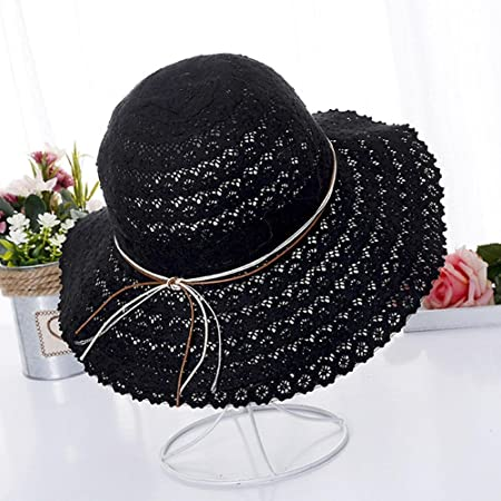 b2976206b1880 Aolvo Women s Full Brim Oversized Beach Sun Hat Foldable Summer UV Fishing  Hat Floppy Fedora Bucket