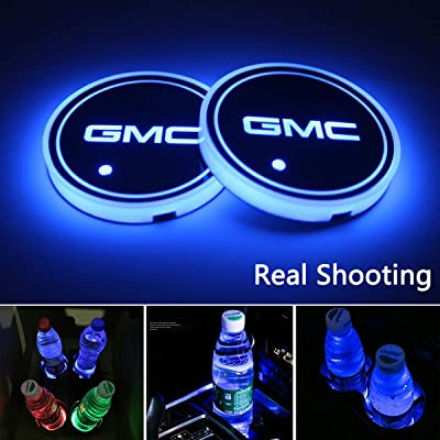 OSIRCAT LED Car Cup Holder Lights fit GMC,7 Colors Changing USB Charging Mat Luminescent Cup Pad,LED Interior Atmosphere Lamp 2PCS: Automotive