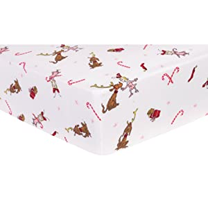 Trend Lab Dr. Seuss Cindy Lou Who and Max Deluxe Flannel Fitted Crib Sheet