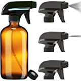 Nylea Empty Glass Spray Bottle for Plants (16oz) | Durable & Refillable Amber Spray Bottles for Cleaning Solutions - Essentia