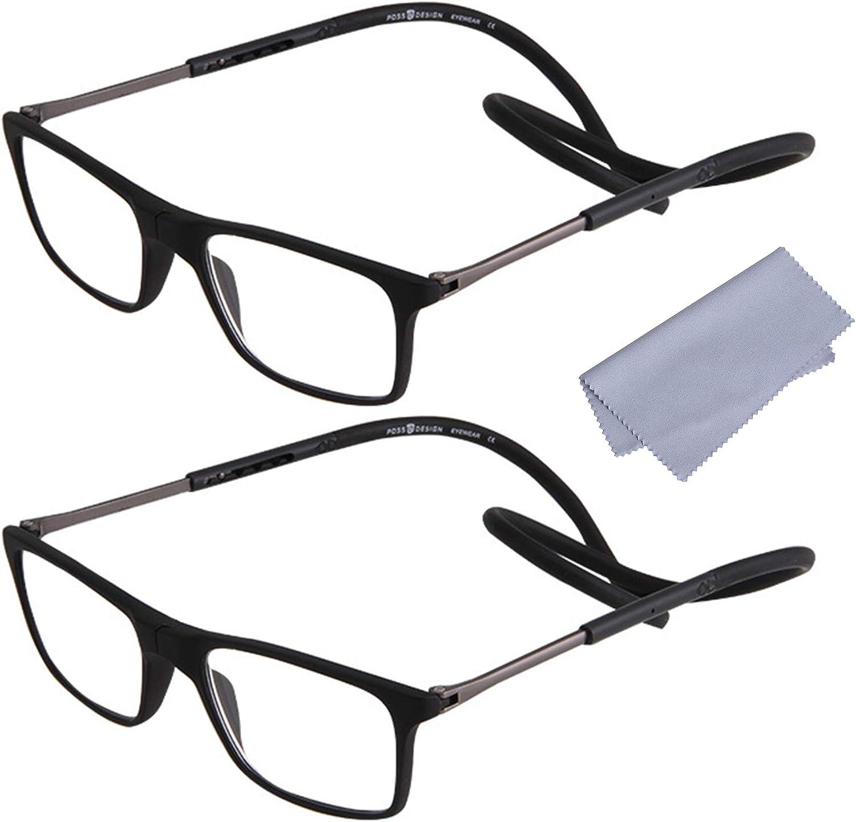 2-Pack Gafas de Lectura Magnéticas Plegables para Hombre y Mujer +2.50(60-64 años) Presbicia Vista Montura Regulable Colgar del Cuello y Cierre con Imán, Negro