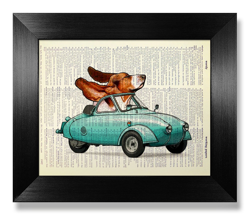 Beagle Dog Poster with Green Car Wall Decor Man Kids Room Boy Bedroom Wall Art Painting for Living Room, Funny Gift, Office Wall Print, Dictionary Art Print, Cute Dog Lover Gift