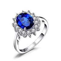 JewelryPalace Created Blue Sapphire Engagement Princess Diana Kate Middleton Ring 925 Sterling Silver