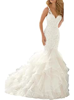 3222757f1aa Beauty Bridal Mermaid Wedding Dress for Bride Lace V-Neck Ruffles Applique  Bridal Gowns S013