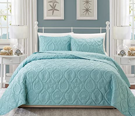 3 piece baby blue embossed seashell theme bedspread queen set beautiful classic coastal seahorse bedding