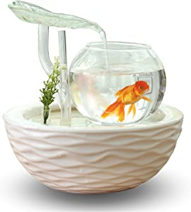 crapelles Transparent Glass Leaves Waterfall Fish Tank with Colorful Shine,Ceramic bolw,Tabletop Indoor Fountain Small Aquarium House Office Decor, Wedding Gift Idea Modern European Style