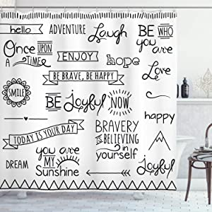 Ambesonne Adventure Shower Curtain, Various Words on Happiness and Self Value Uplifting Phrases Being Who You are, Cloth Fabric Bathroom Decor Set with Hooks, 70