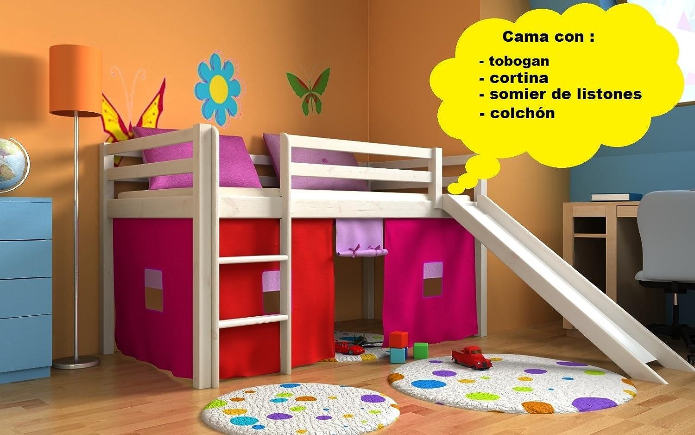 Cama de juego,cama para niños,de alta,cama con tobogan,cortinas,colchón,somier,muchos colores