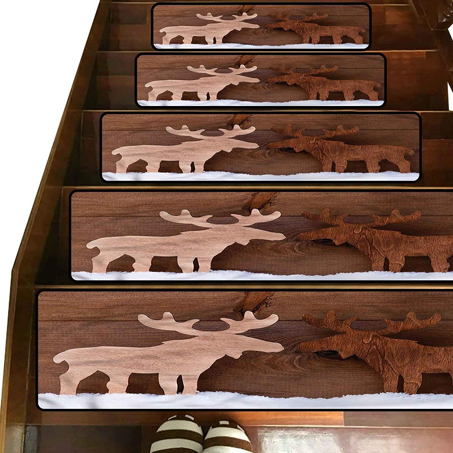 3D Moose Printed Pattern Stair Treads Carpet,(8 x 30 Inches) Pack of 5,Romantic Christmas Season Indoor Outdoor Pet Dog Stair Treads Pads Non-Slip Stairway Carpet Rugs for Home Decor