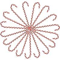 Yardwe 18 Stks Kerst Plastic Candy Cane Kerstboom Opknoping Ornamenten Wit Rood Candy Cane Vakantie Kerstfeest Gunst…