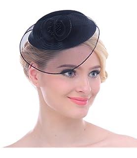32dc419dc2f Women Mesh Net Flower Pillbox Hair Clip Fascinator Hat for Wedding Cocktail  Derby
