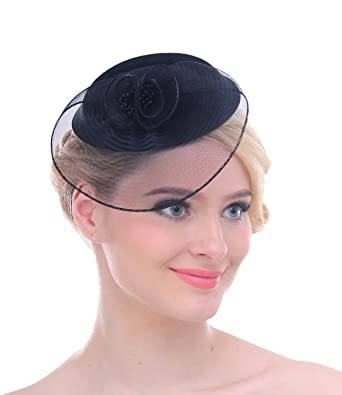2a565664 Women Mesh Net Flower Pillbox Hair Clip Fascinator Hat for Wedding Cocktail  Derby(Black)