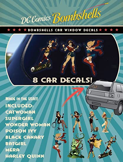 Officially Licensed DC Comics ST DCFAM BOMBPACK Family Pack DC Bombshells Car Window Sticker Decals