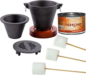 Tiger Chef Smores Kit Marshmallow Roasting Set Includes Hibachi Grill Set, Chafing Fuel Gel Can, 100 Bamboo Skewers, 1 Bag of Free Kraft Or Similar Brand Marshmallows