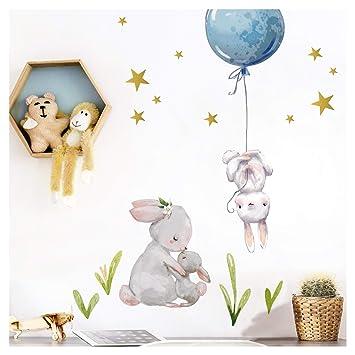 Little Deco Aufkleber Jungen Kinderzimmer Hasen mit blauen Ballon I (BxH)  57 x 47 cm I Sterne Jungs Wandaufkleber Wandtattoo Tiere Deko Babyzimmer ...