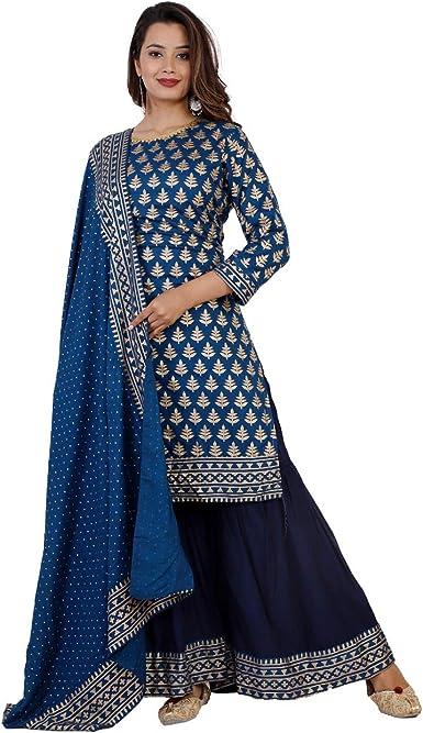 Party Wear Special Dress Indian Traditional Designer Beautiful Rayon Printed Kurti Palazzo Dupatta For Girls Women Reyon fabric Wedding