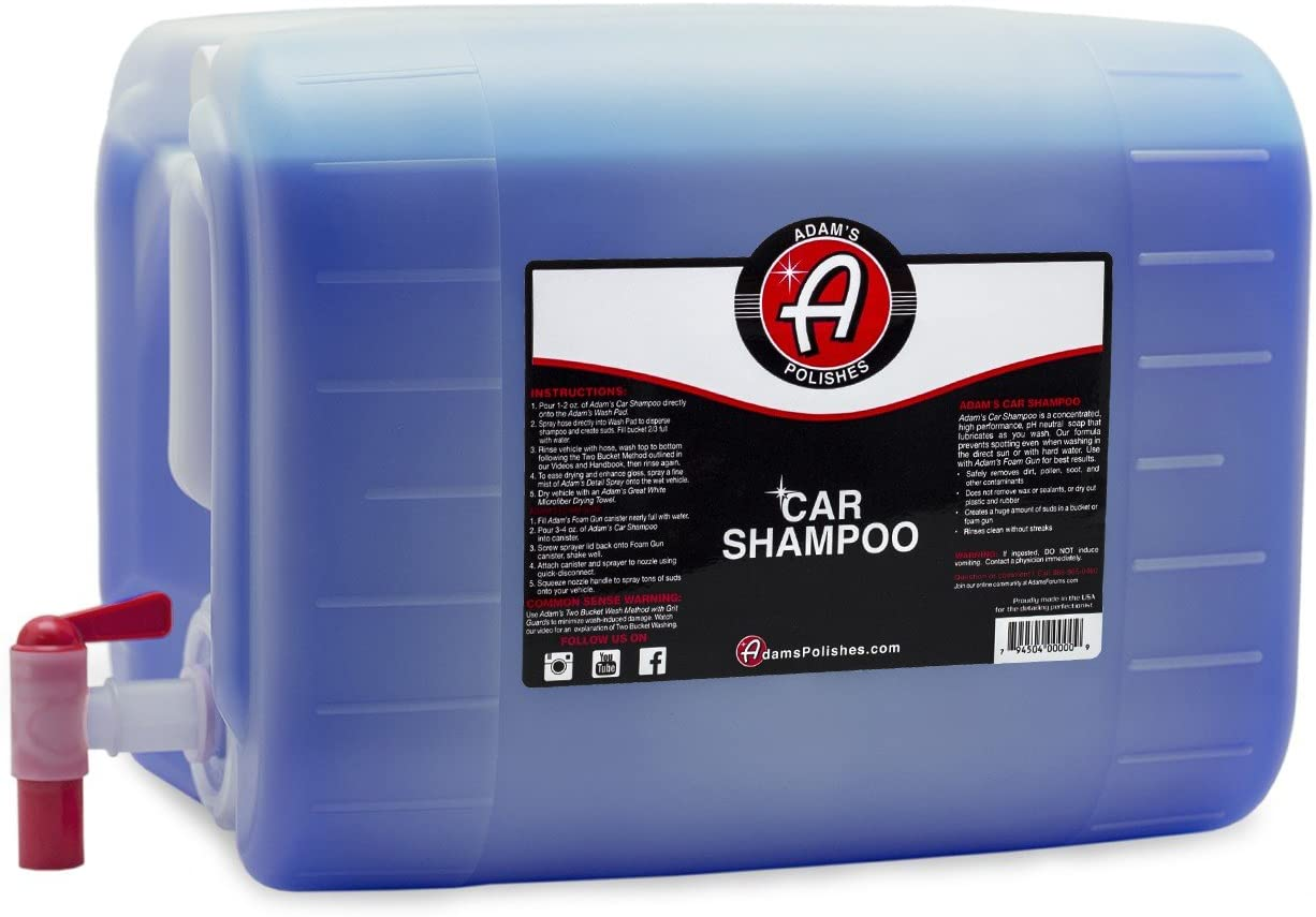 Adam's Car Wash Shampoo (5 Gallon) - pH Auto Detailing & Cleaning Wash Soap | Use W/ 5 Gallon Bucket, Pressure Washer, Foam Cannon or Gun, Sponge, Mop, Mitt, Chamois | Won't Remove Car Wax or Sealant