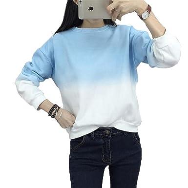 Shining4U Long Sleeve Sweatshirts Slim Autumn Moletom Round Neck Gradual Change Printing Sudadera M-XXL
