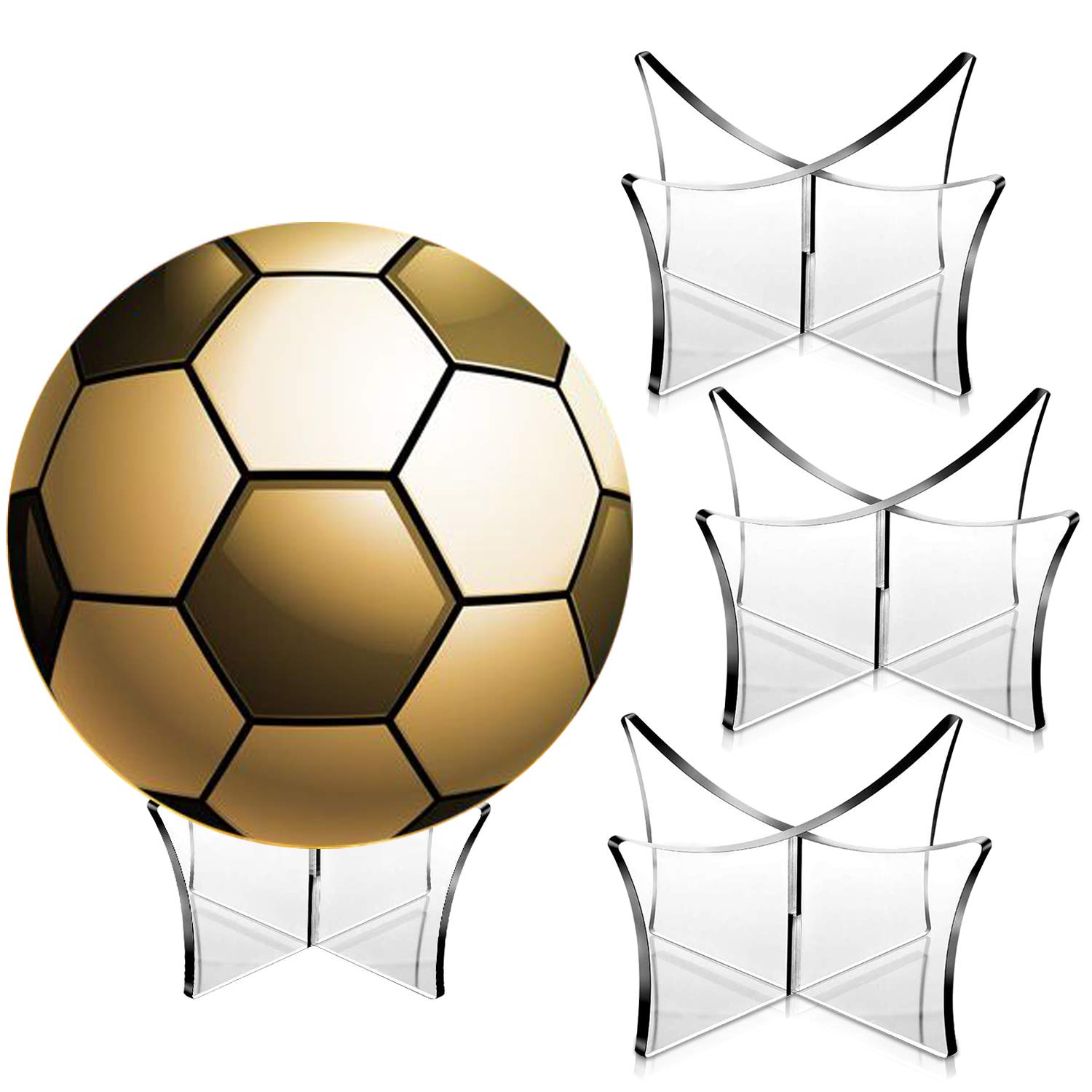 AMCEMIC 4PCS Football Stand Holder Acrylic Ball Display Stand Clear Basketball Football Soccer Stand for Volleyball Soccer Rugby Balls
