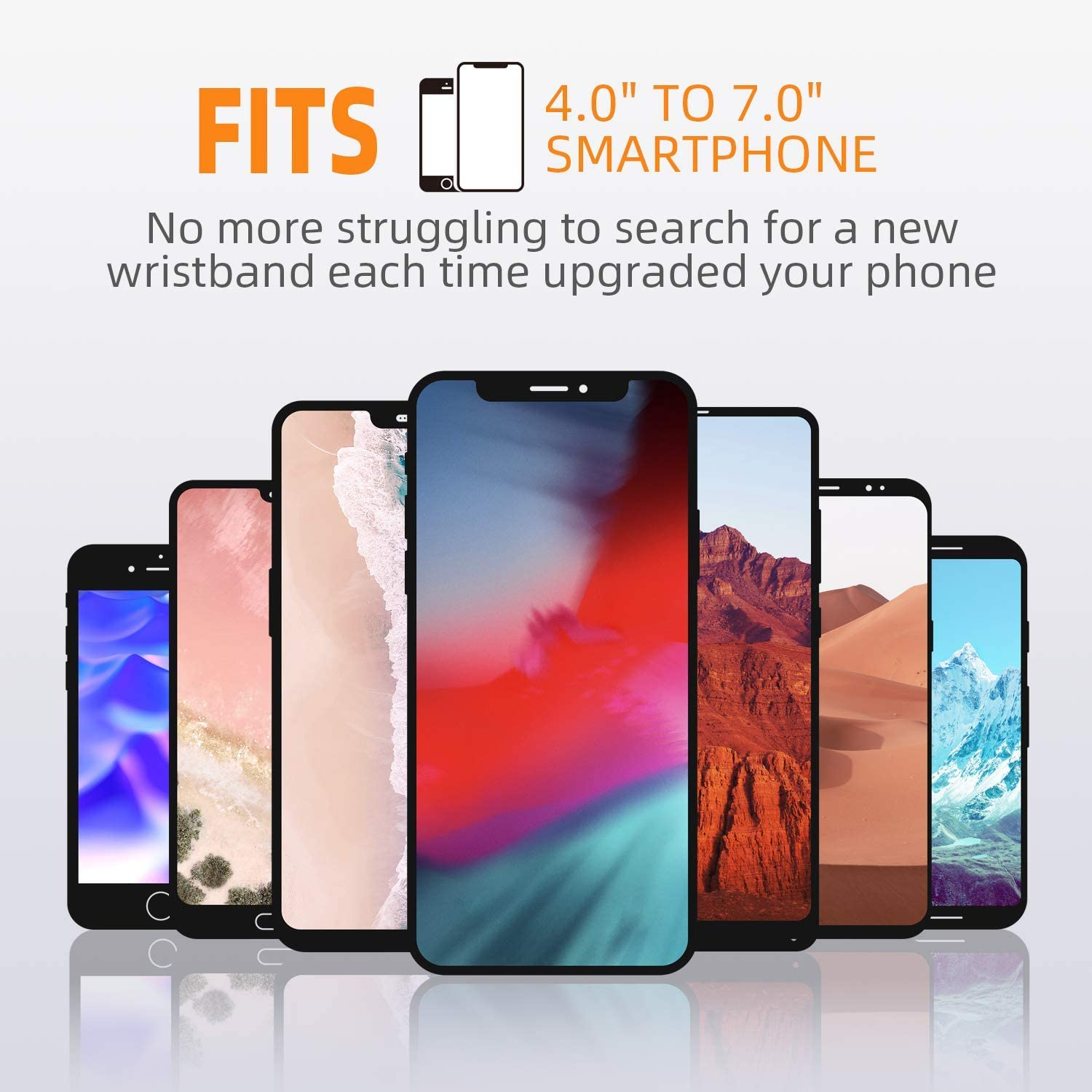 360/°Rotatable with Key Holder Wristband Phone Holder for iPhone X//8 Plus//8//7//6s//6 Plus//iPod Touch Running Wrist Band for 4-6.5Phone Detachable Sports Wristband for Androids,Samsung Galaxy