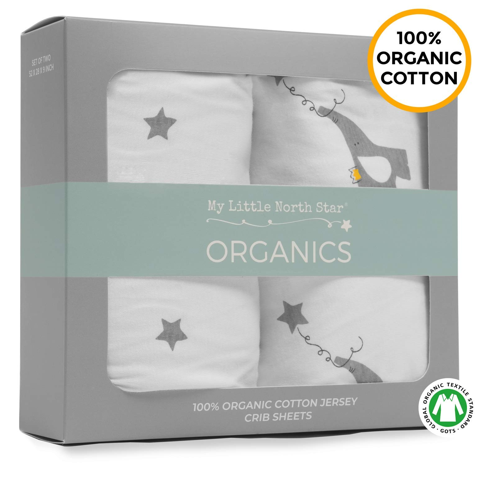 My Little North Star Crib Sheets - 100% Organic Jersey Cotton - 2pk Unisex Grey - Best for boy or Girl by My Little North Star