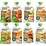 Sprout Organic Baby Food Pouches Stage 3, Meat and Plant Protein Variety Sampler 8 Flavors of Organic Meat and Vegan…