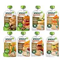 Sprout Organic Baby Food Pouches Stage 3, Meat and Plant Protein Variety Sampler 8 Flavor, 4 Ounce Pouches (Pack of 12)