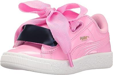 PUMA Unisex-Kids' Basket Heart Patent Sneaker